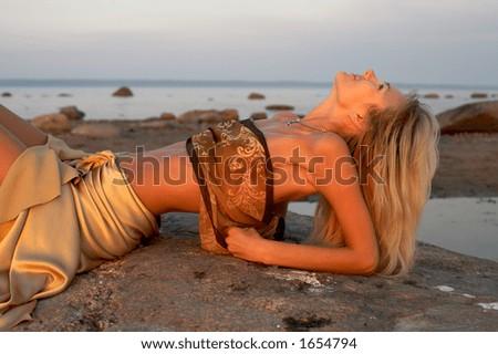 lovely girl relaxing - stock photo