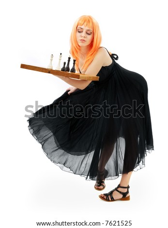 lovely girl with chess over white background - stock photo