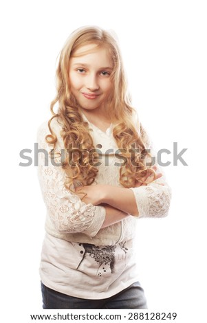 Lovely girl with long blond hair, isolated on white