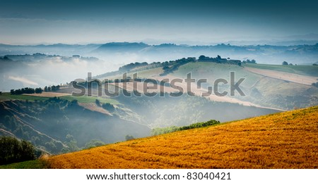 lovely green lush countryside in the morning light with mist in the valley - stock photo