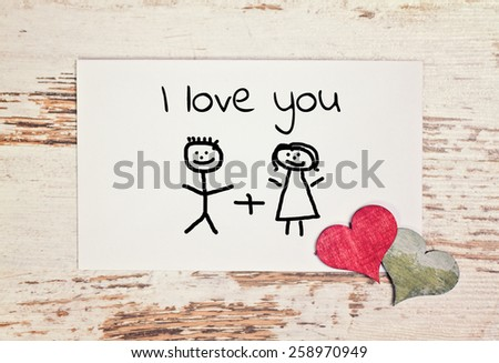 lovely greeting card - i love you - stock photo
