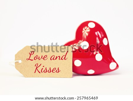 lovely greeting card - LOVE and kisses - stock photo