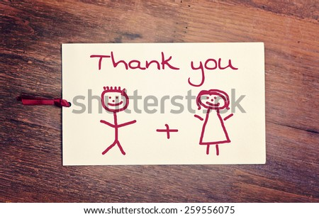 lovely greeting card - thank you Matchstick man - stock photo