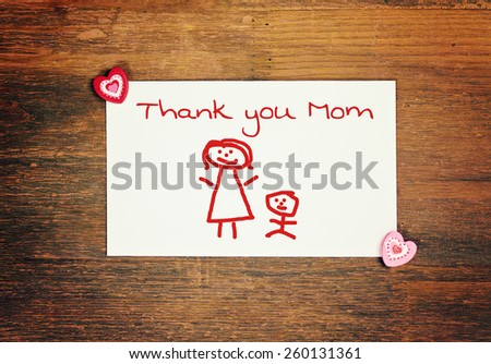 lovely greeting card -thank you mom - matchstick man - stock photo