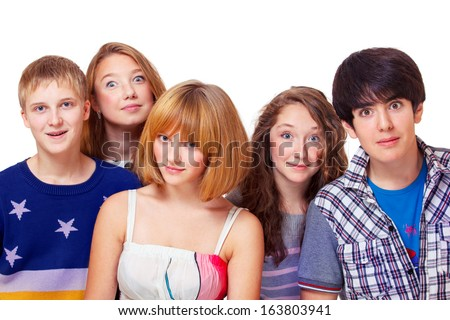 Lovely group of high school students - stock photo