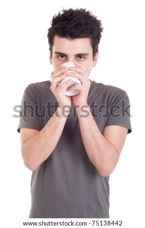lovely handsome casual man drinking coffee/tea mug (isolated on white background) - stock photo