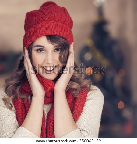 Lovely Happy Woman. Merry Christmas. - stock photo