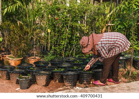 Lovely happy young woman gardener choosing flower pot with anthuriums in garden center - stock photo