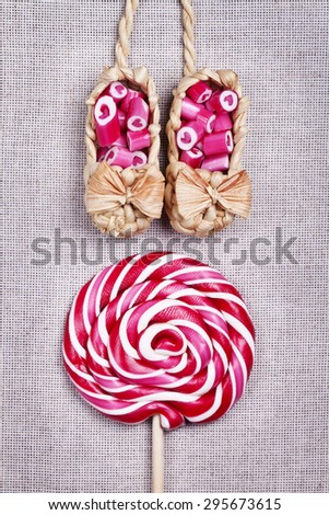 Lovely heart candy canes beautiful background - stock photo