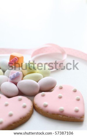 Lovely heart icing cookies and candies