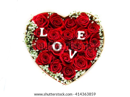 Lovely heart made of red roses isolated on white background good for mother's day too - stock photo