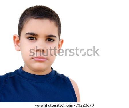 Lovely hispanic kid with a serious expression, isolated on white - stock photo
