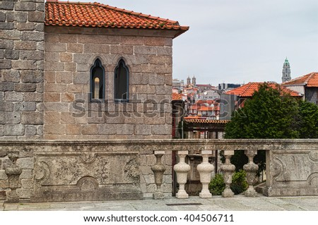 Lovely historic cityscape of Porto from a terrace. Portugal - stock photo