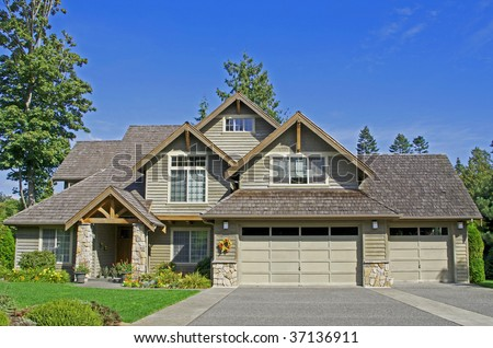 Lovely home with blue sky - stock photo