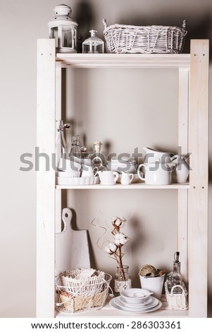 Lovely homeware and dishware in the kitchen at shabby chic style - stock photo
