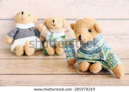 lovely hug teddy bears, love valentines background, vintage filtered - stock photo