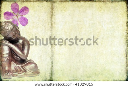 lovely illustration depicting a buddha and floral elements. useful design element. - stock photo