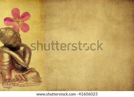 lovely illustration depicting a buddha and floral elements with plenty of space for text. - stock photo