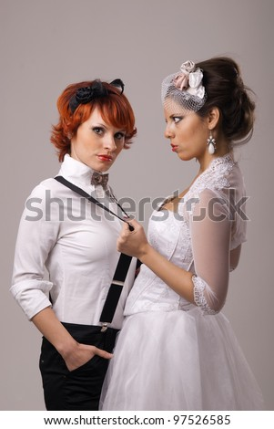 lovely lesbian gay couple getting married