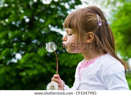 Lovely little blond little girl blowing a dandelion - stock photo