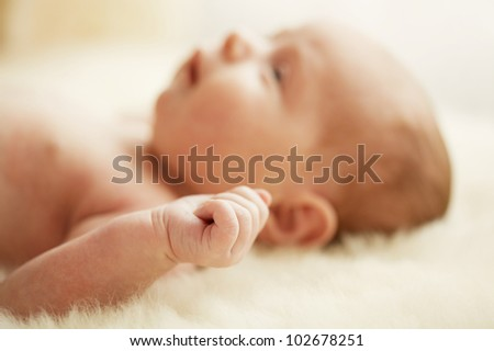 Lovely little clenched hand - stock photo