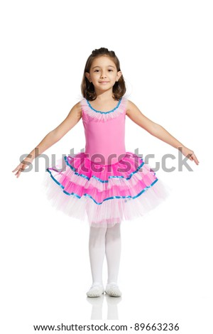 lovely little girl, dressed as a ballerina, isolated on white background - stock photo
