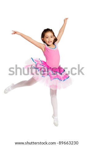 lovely little girl, dressed as a ballerina, jumping, isolated on white background - stock photo