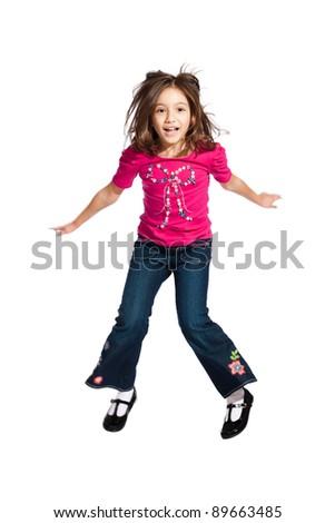 lovely little girl, jumping, isolated on white background - stock photo