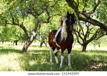 Lovely little girl on a horse - stock photo