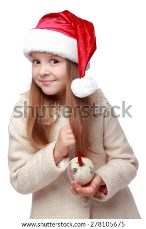 Lovely little girl on christmas isolated in white - stock photo