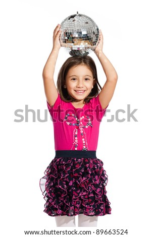 lovely little girl, playing with a disco ball, isolated on white background