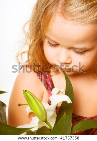 lovely little girl with flower