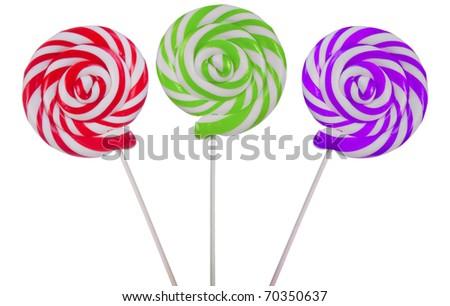 Lovely lollipops on white background - stock photo