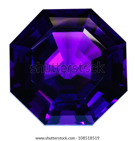 Lovely natural dark violet amethyst with an octagon shape. Isolated on white. Wonderful facets. - stock photo