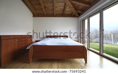 lovely new house, modern furniture, bedroom - stock photo