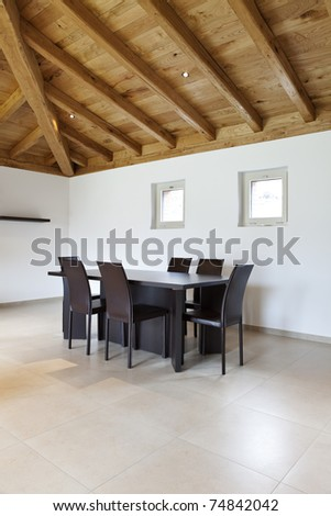 lovely new house, modern furniture, dining-room view - stock photo