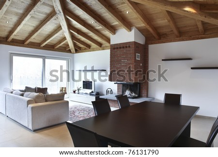 lovely new house, modern furniture, dining table - stock photo
