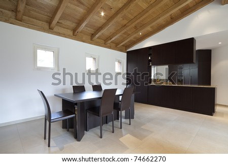lovely new house, modern furniture, dining table and kitchen