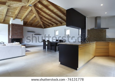 lovely new house, modern furniture, kitchen view - stock photo