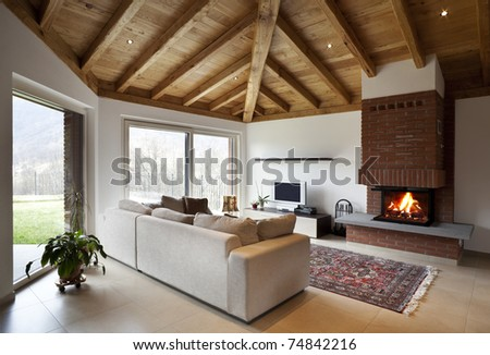 lovely new house, modern furniture, living-room view - stock photo