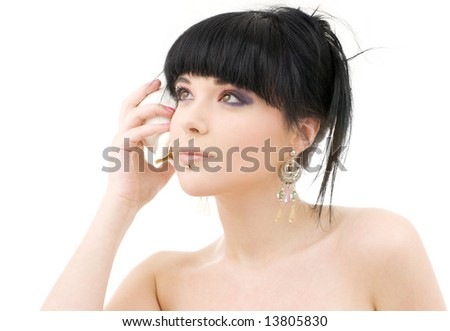 lovely oriental girl with shell over white - stock photo