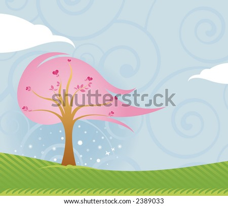 Lovely outdoor scene of blue sky, green grass and pink Valentine tree filled with hearts - stock photo