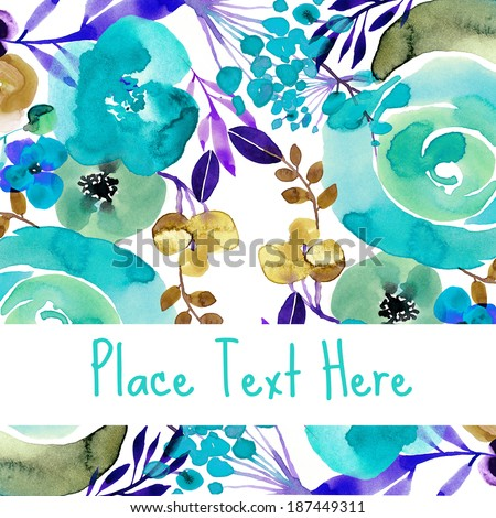 Lovely painted floral pattern with room for text - stock photo