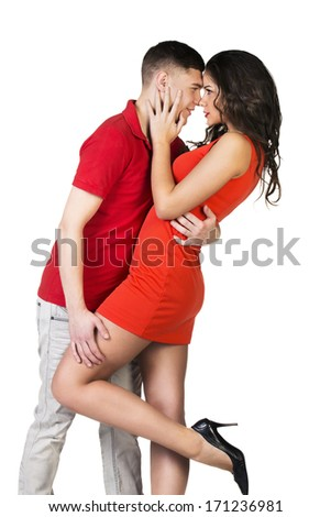 Lovely passion couple kissing - stock photo