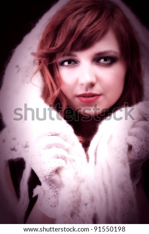 lovely redhead - white glove warm scarf Young beautiful red haired woman blue eye - stock photo