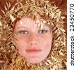Lovely Redhead Woman With Freckles Surrounding Her Face on White Background - stock photo