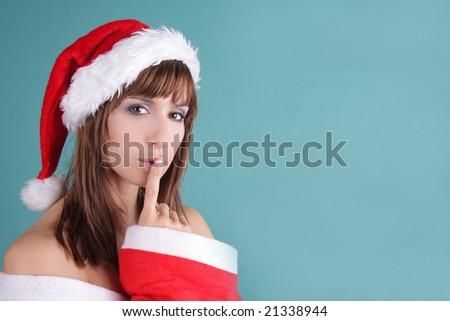 lovely santa-woman - stock photo