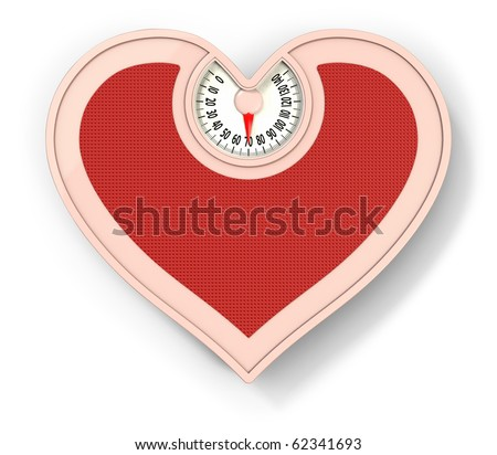 Lovely scale, diet concept, heart shaped scale - stock photo