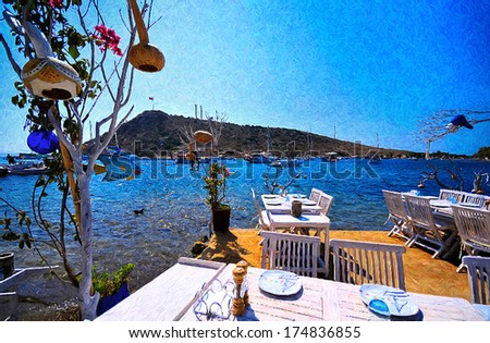 Lovely sea side restaurant oil painting from beautiful tourism city Bodrum - stock photo
