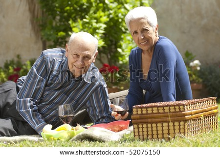 Lovely senior couple having a picnic at the park - stock photo